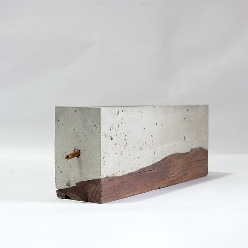 Cement and wood indoor planter