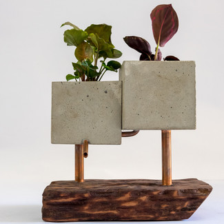Japandi Planter. Cement, wood, and copper.  Zen and Cement, Marrickvile, Australia
