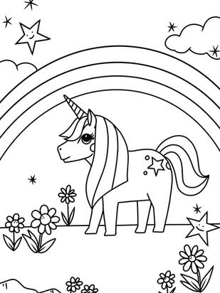 Kostenlos Ausmalbild Malvorlage Einhorn Regenbogen zum Ausdrucken