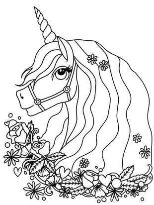 Ausmalbild Malvorlage Einhornkopf Blumen zum Ausdrucken