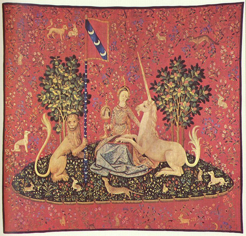 Textilteppich, Darstellung einer Jungfrau mit Einhorn