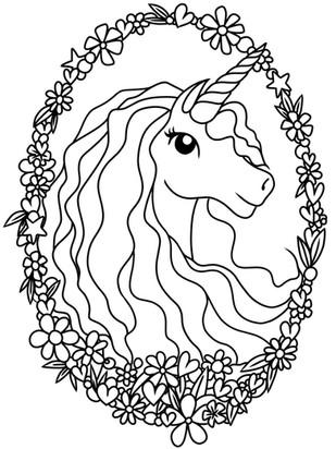 Ausmalbild Malvorlage Einhorn Kopf Blumen zum Ausdrucken