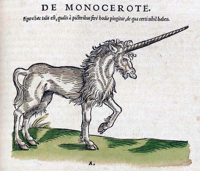 Einhorn nach Konrad Genser Historiae animalium 1551