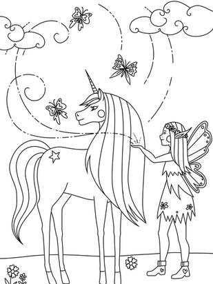 Ausmalbild Malvorlage Einhorn Fee Schmetterlinge zum Ausdrucken
