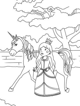 Ausmalbild Malvorlage Einhorn Prinzessin zum Ausdrucken