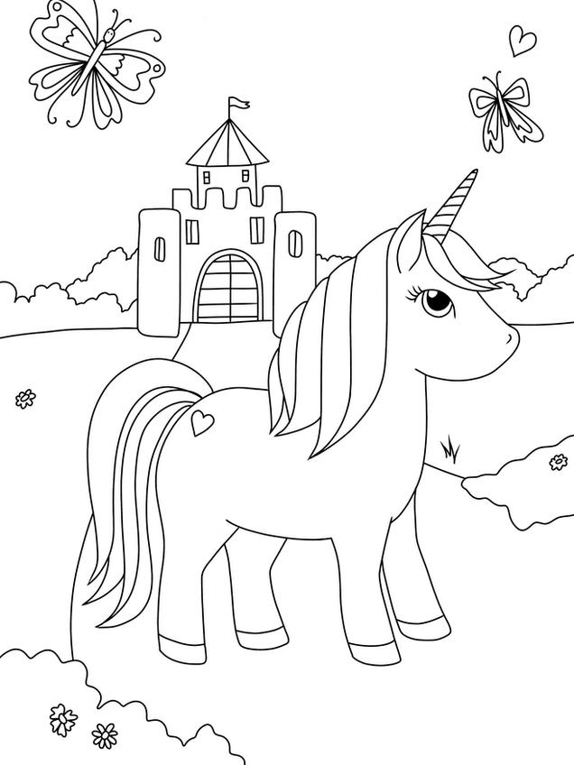 Ausmalbild Malvorlage Einhorn Schloss Schmetterling zum Ausdrucken