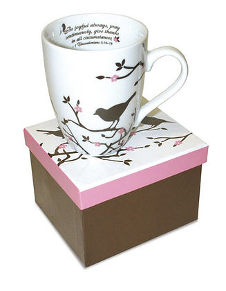 Ceramic Scripture Mug Black and White Cherry Blossoms with Birds