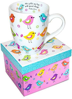 Ceramic Scripture Mug Colourful Birds