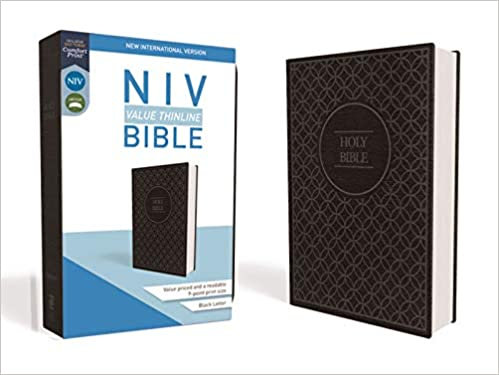 NIV Value Thinline Bible Black Letter Charcoal/Blk LeatherSoft