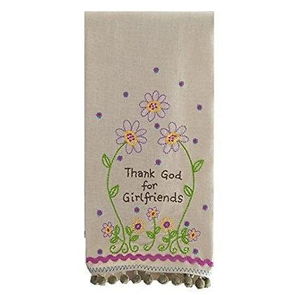 Linen Hand Towel - Thank God for Girlfriends
