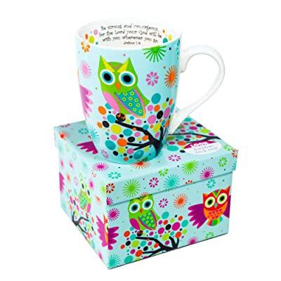 Ceramic Mug Blue with Owls on Trees
