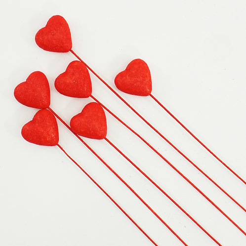 HEART PICK 55MM 6PCS RED