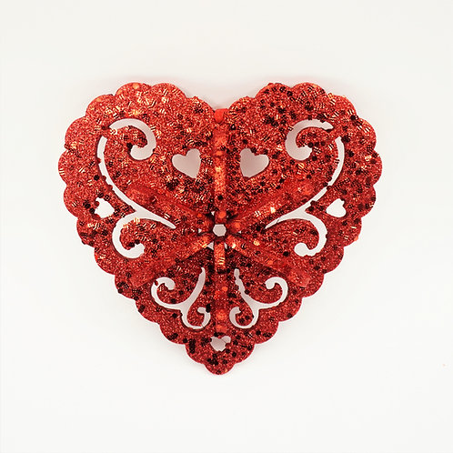 HEART 10IN EVA 3D RED GLITTER
