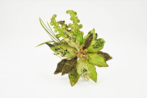 CLIP POINSETTIA WITH ACAN LEAF APPLE GREEN
