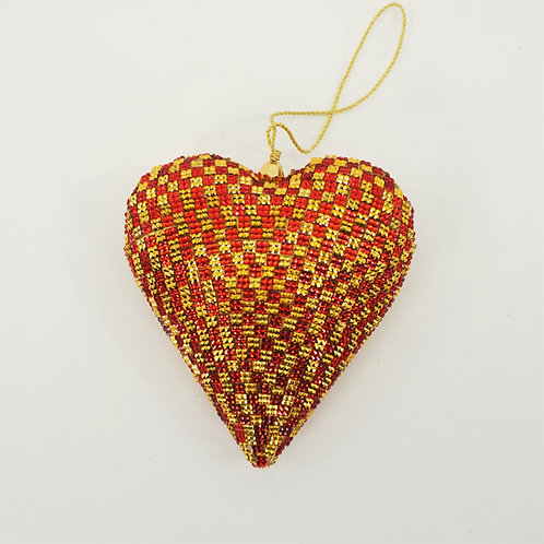 HEART CRYSTAL 5IN RED AND GOLD