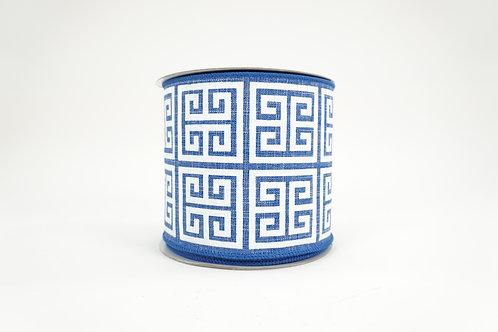 GREEK KEY RIBBON 4X10 BLUE,WHITE