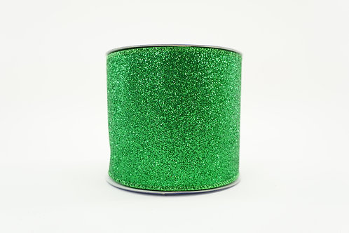 DIAMOND DUST GLITTER RIBBON 4X10 EMERALD
