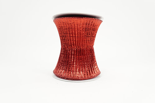 PLEATED WOVEN METALLIC RIBBON 5X5 RED