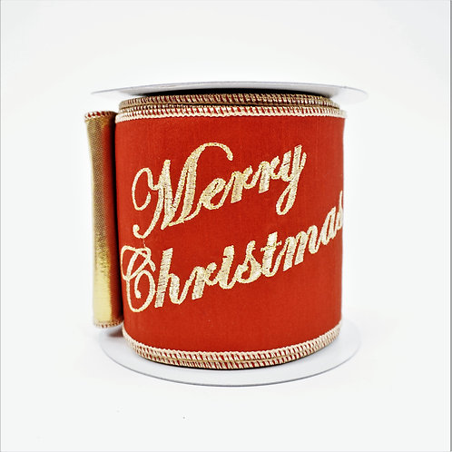 RIBBON MERRY CHRISTMAS  4X10 RED