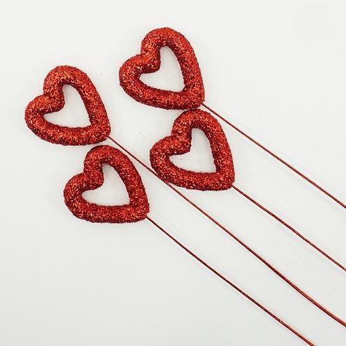 HEART PICK 80MM 4PCS RED