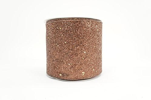 DIAMOND DUST GLITTER RIBBON 4X10 CHOCOLATE