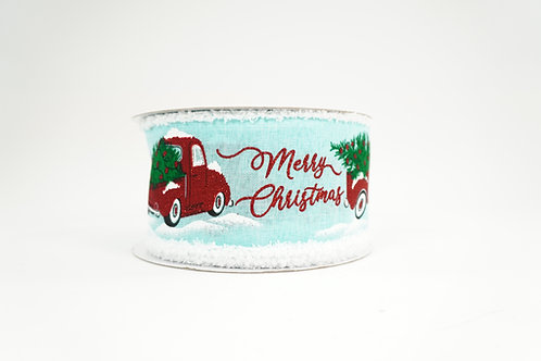 FUZZY EDGE MERRY CHRISTMAS SIGN WITH TRUCK 2.5X10 AQUA,RED