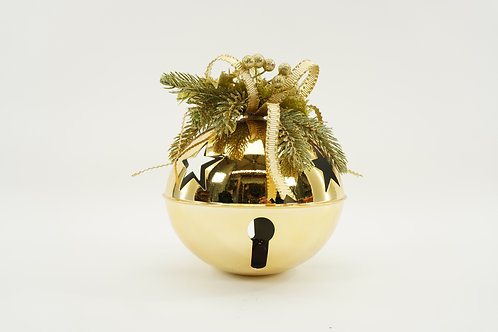JINGLE BELL 200MM 9IN TALL WITH DECOR GOLD