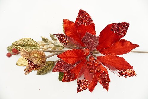 POINSETTIA PICK WITH POMEGRANATE RED