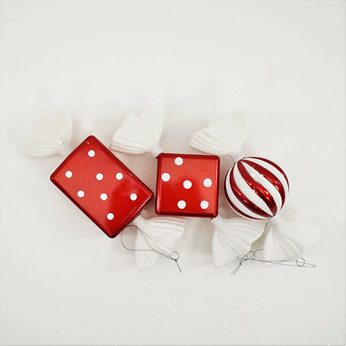 CANDY 8IN 3PC BOX RED AND WHITE GLITER