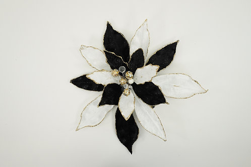POINSETTIA WITH CLIP  BLACK AND WHITE