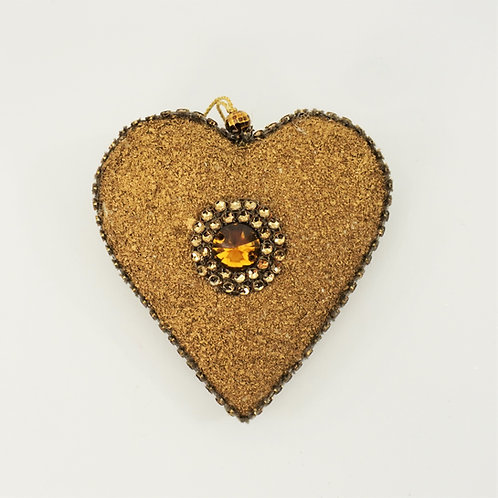 HEART 5IN WITH MEDALLION ANTIQUE GOLD