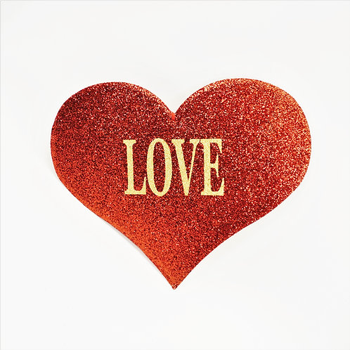 HEART 19IN LOVE RED AND GOLD GLITTER