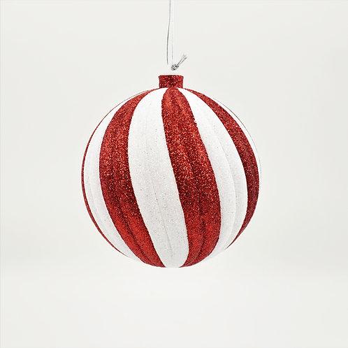 BALL 150MM SWIRL RED AND WHITE GLITTER