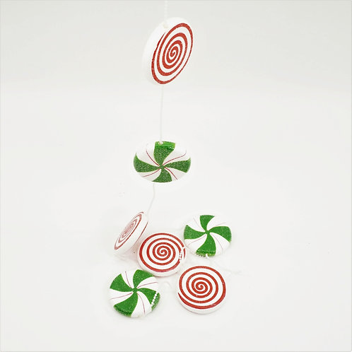GARLAND CANDY MINTS 4FT RED, WHITE AND GREEN