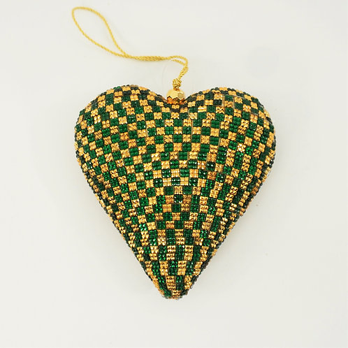 HEART CRYSTAL 5IN GREEN AND GOLD