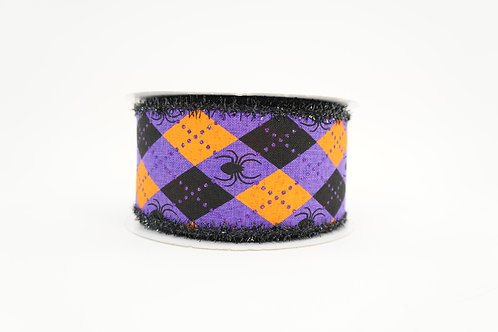 FUZZY EDGE ARGYLE RIBBON WITH SPIDERS 2.5X10 MULTICOLOR