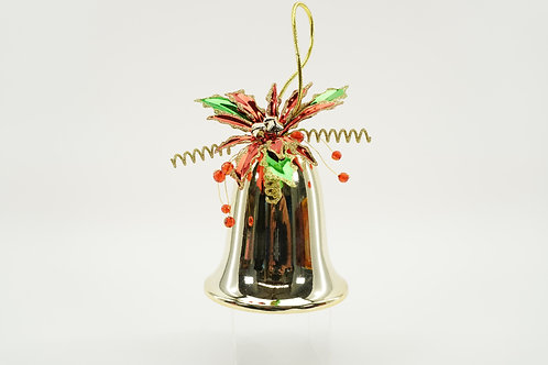 LIBERTY BELL 120MM 6IN TALL WITH POINSETTIA GOLD