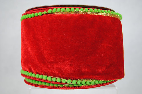 RIB BEADED VELVET 4X10 RED/GRN