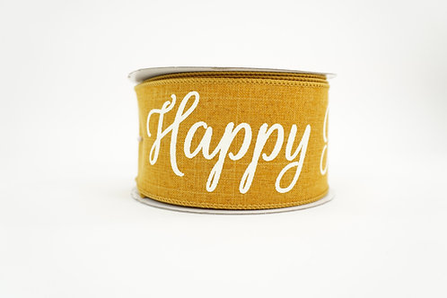 HAPPY FALL YALL RIBBON 2.5X10 MUSTARD