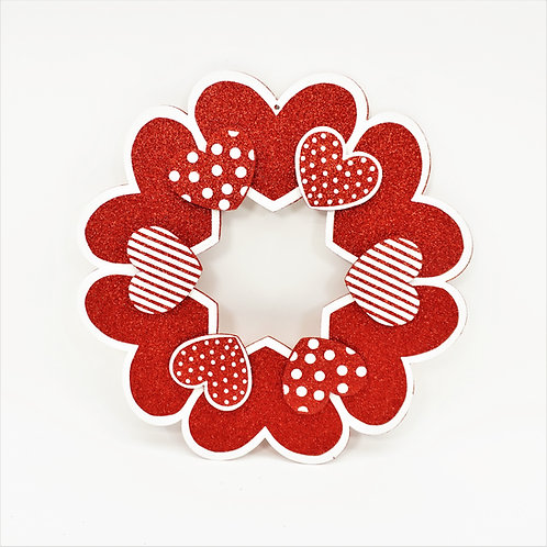 WREATH FOAM BOARD HEARTS 17.5 IN RED AND PINK