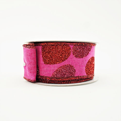 RIBBON BOLD HEARTS PINK 1.5X10YDS