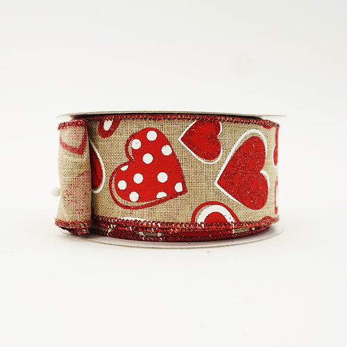RIBBON PATTERNED RED HEARTS NATURAL 1.5X10YD