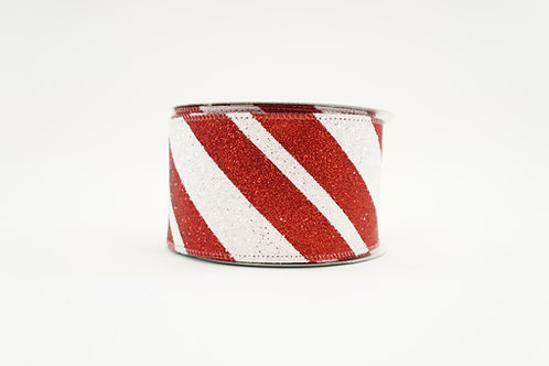 RIBBON DIAGONAL STRIPES 2.5X10 RED,WHITE WITH GLITTER