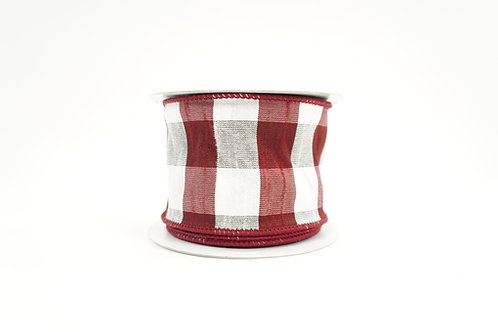 FAUX DUPION RIBBON 2.5X10 BURGUNDY,WHITE