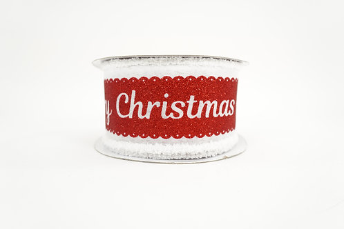 FUZZY EDGE GLITTER MERRY CHRISTMAS RIBBON 2.5X10 RED,WHITE