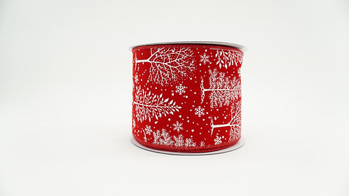 RIBBON CHRISTMAS FOREST 4X10 RED