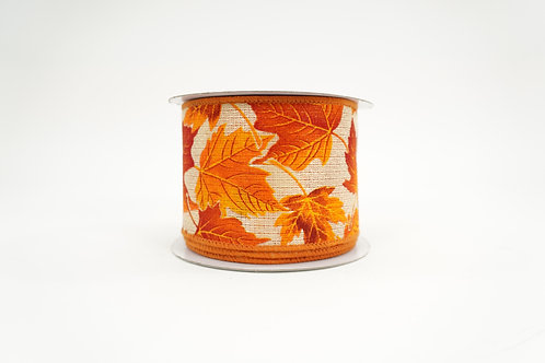 AUTUM LEAVES FALL RIBBON 2.5X10 NATURAL,ORANGE