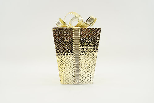 GIFT BOX WITH LED LIGHTS 12IN GOLD