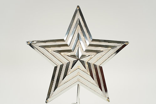 STAR TREE TOPPER 12IN TALL WITH LED LIGHTS SILVER