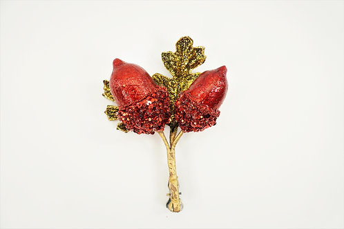 ACORN X2 WITH CLIP ON LEAVES RED